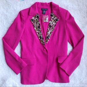 Boston Proper Pink Jeweled Embellished Blazer 6